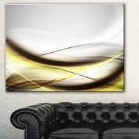 Designart 'Abstract Golden Waves' Abstract Digital Art Canvas Print