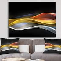 Designart '3D Gold Silver Wave Design' Abstract Digital Art Canvas Print