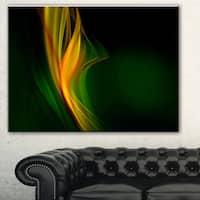 Designart 'Green Gold Upright Waves' Abstract Digital Art Canvas Print