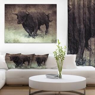 Designart 'Bull Running on Vintage Paper' Animal Digital Art Canvas Print