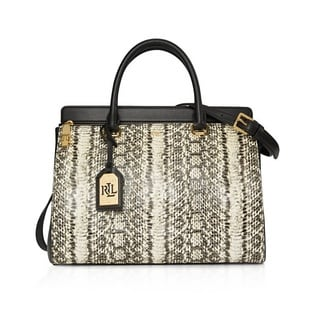 Lauren Ralph Lauren Whitby Snake-Embossed Leather Satchel Handbag
