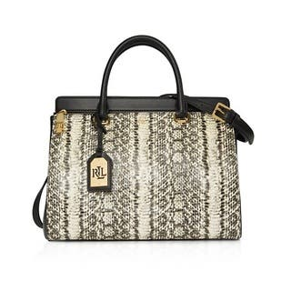 2f0565ae702f Lauren Ralph Lauren Whitby Snake-Embossed Leather Satchel Handbag