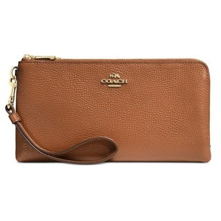 Coach Polished Pebble Light Gold/Saddle Leather Double Zip Wallet