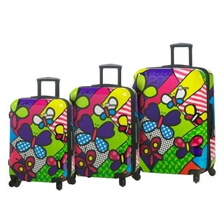 Mia Toro Italy Butterfly 3-piece Fashion Hardside Spinner Luggage Set