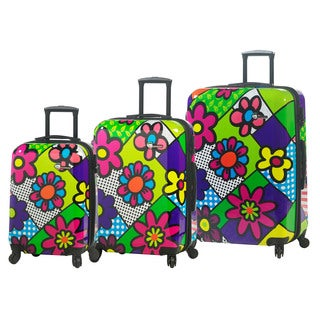 Mia Toro Italy Flower Largo 3-piece Fashion Hardside Spinner Upright Luggage Set