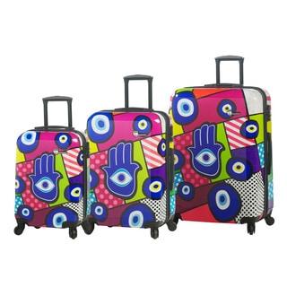 Mia Toro Italy Hamsa 3-piece Fashion Hardside Spinner Luggage Set