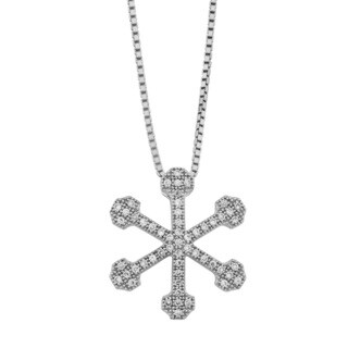 Fremada Rhodium Plated Sterling Silver Cubic Zirconia Snowflake Pendant on Adjustable Length Box Chain Necklace (20 inches)