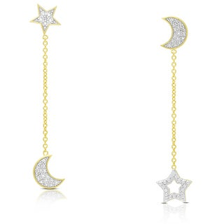 Finesque Gold Over Silver or Sterling Silver Diamond Accent Star and Moon Dangle Earrings