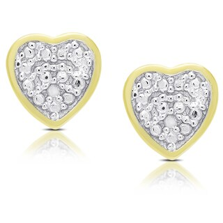 Finesque Gold Over Silver or Sterling Silver Diamond Accent Heart Stud Earrings