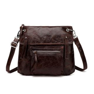 Vicenzo Leather Edda Distressed Leather Crossbody Handbag