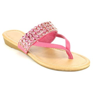 Fashion Focus EB82 Women's Rhinestone Triple Strap Thong Mini Wedge Sandals