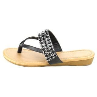 Fashion Focus EB82 Women's Rhinestone Triple Strap Thong Mini Wedge Sandals