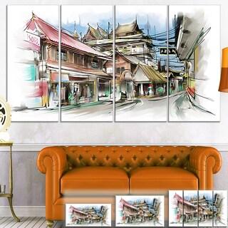 Designart 'City Street Illustration Art Cityscape Street Art Canvas Print - Red