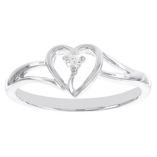 H Star 10k White Gold Heart Shaped Diamond Accent Promise Ring (I-J, I2-I3)