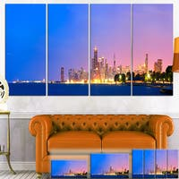Designart 'City of Chicago Skyline' Cityscape Photo Canvas Print - Orange