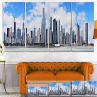 Designart 'Chicago City Urban Skyline' Photo Canvas Print - Blue