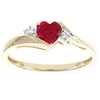 H Star 10k Yellow Gold Sweetheart Created Ruby and Diamond Accent Ring (I-J, I2-I3)