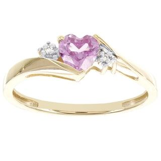 H Star 10k Yellow Gold Sweetheart Created Pink Sapphire and Diamond Accent Ring (I-J, I2-I3)