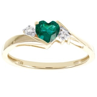 H Star 10k Yellow Gold Sweetheart Created Emerald and Diamond Accent Ring (I-J, I2-I3)