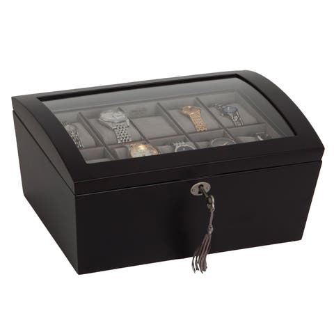 Mele & Co. 'Royce' Locking Glass Top Java Wood 10 Slot Watch Box