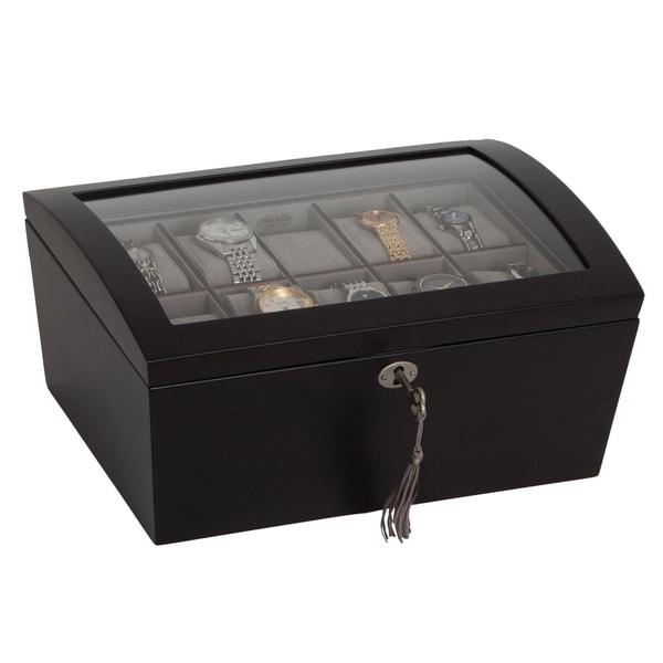 Mele & Co. 'Royce' Locking Glass Top Java Wood 10 Slot Watch Box