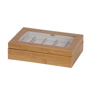 Mele & Co. 'Logan' Glass Top Bamboo Wood Watch Box