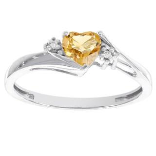 H Star 10k White Gold Sweetheart Citrine and Diamond Accent Ring (I-J, I2-I3)