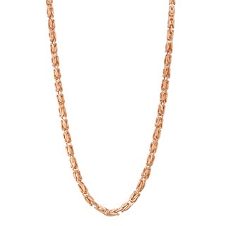Gioelli 14k Rose Gold Petite Square Byzantine Necklace