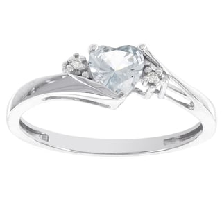H Star 10k White Gold Sweetheart Aqua and Diamond Accent Ring (I-J, I2-I3)