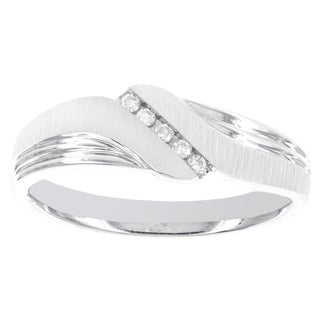 H Star Sterling Silver 1/10ct Diamond Men's Band (H-I, I3)