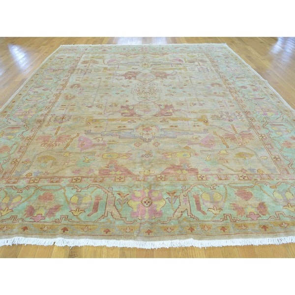 Pastel Colors Oushak Pure Wool Hand Knotted Oriental Rug 9 X27 1