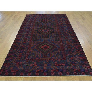Pure Wool Afghan Baluch Hand-knotted Oriental Rug (4'5 x 8'9)