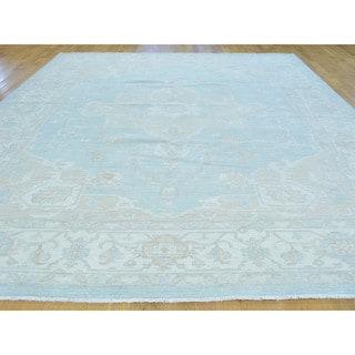 Sky Blue Serapi Heriz Pure Wool Hand-knotted Oriental Rug (10'2 x 14')
