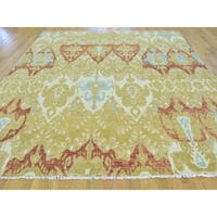 Pure Wool Ikat Uzbek Design Hand-knotted Oriental Rug (7'8 x 10')