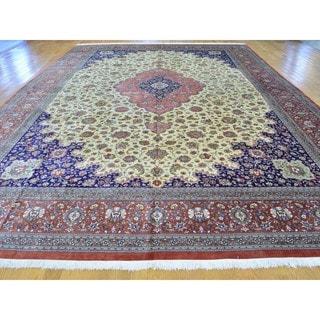Signed Persian Silk Qom 600 KPSI Handmade Oversize Rug (11'4 x 17')
