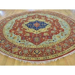 Antiqued Heriz Pure Wool Hand-knotted Oriental Rug (9'9 Round)