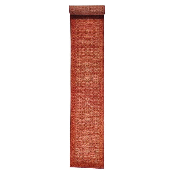 Tabriz Mahi Tone-on-tone Wool and Silk XL Runner Rug (2'10 x 18'2)