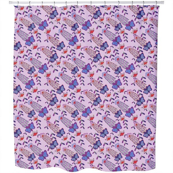 Butterfly Lilac Flush Shower Curtain