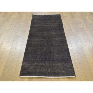 Nepali Tone-on-tone Wool and Silk Hand-knotted Runner Rug (2'3 x 6'8)