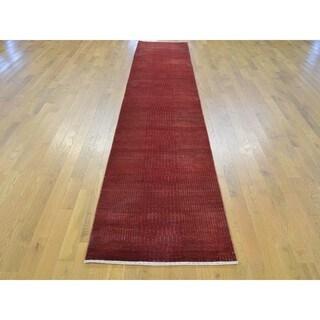 Wool and Silk Red Nepali Tone-on-tone Handmade Runner Rug (2'5 x 13'1)