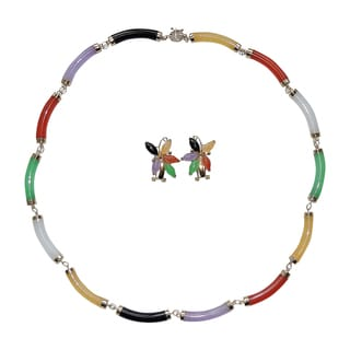 14k Yellow Gold Multi-color Curved Tube Jade Necklace and Earring Set