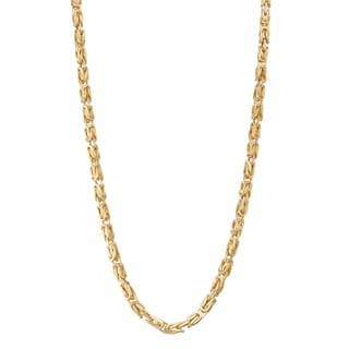 Gioelli 14k Gold Petite Square Byzantine Necklace
