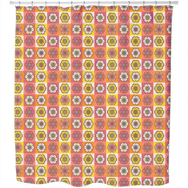 Bohemian Flower Patchwork Shower Curtain