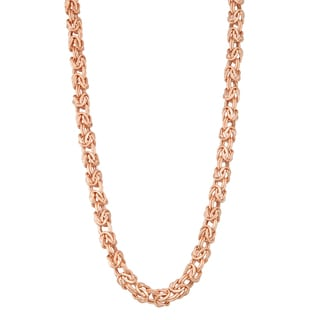 Gioelli 14k Rose Gold Lightweight Byzantine Necklace