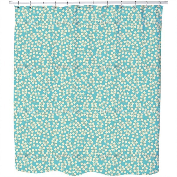 Blue with Yellow Branches Shower Curtain
