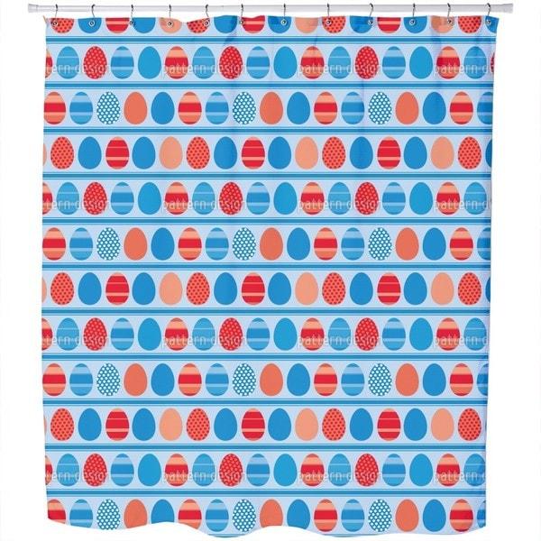 Blue Easteregg Stripes Shower Curtain