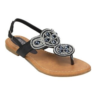 Beston EB89 Women Sparkly Diamonds Buckled Slingback Thong Sandal