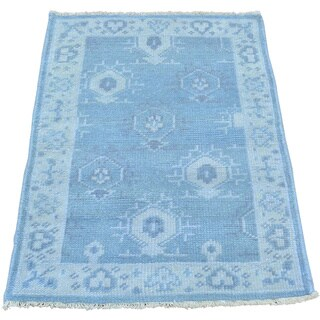 Turkish Knot Oushak Cropped Thin Hand-knotted Oriental Rug (2' x 3')