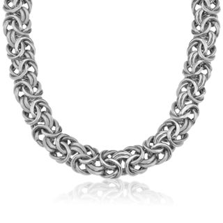 Gioelli 14k White Gold High Polish Byzantine Necklace