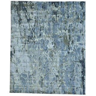 Modern Abstract Design Wool and Silk Hand-knotted Rug (8' x 9'9)